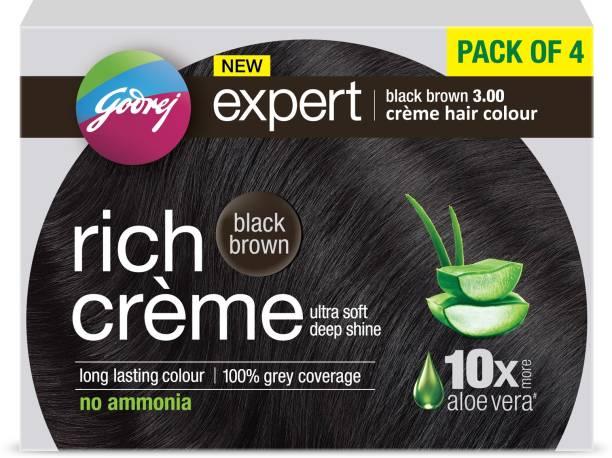 Godrej Expert Creme Hair Colour - Black Brown Pack of 4 , Black Brown