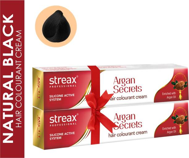 Streax Argan Secrets Hair Colourant Cream Pack of 2 , Natural Black
