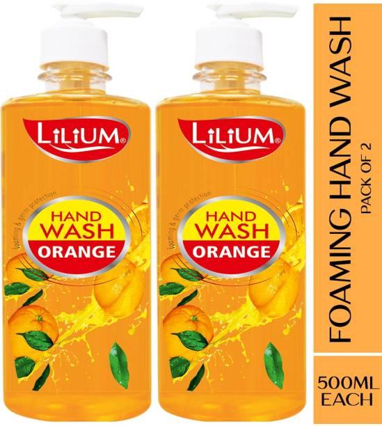 LILIUM Herbal Foaming Hand Wash Orange, 500ml, Pack of 2 Hand Wash Pump Dispenser