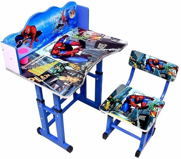 BRIJBAZAAR BrijBazaar Kids Table Chair Spider Kids Study Table Chair With Height Adjustable & Glossy Finish For Kids Table Chair Engineered Wood Desk Chair engineered wood Desk Chair