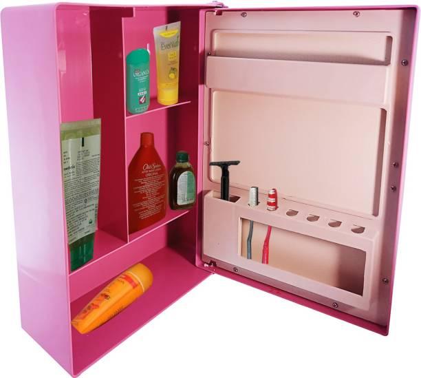 Zahab Single Door Storage Bathroom Cabinet with Mirror- Magenta, 10 x14 inches Dual Mount Medicine Cabinet