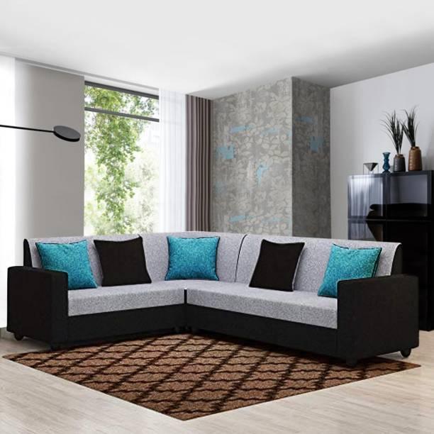 Woodcasa Vasto Corner L Shape Sofa Set Fabric 5 Seater  Sofa