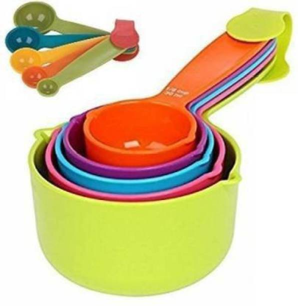 WANQLYN 10pcs Colourfull Measuring cups + Spetula Set Brush Kitchen Tool Set Plastic Measuring Spoon Set