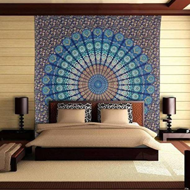 D K Lifestyles Bohemian Mandala Blue Peacock Wing Wall Hanging Bedsheet Bedcover Room Dorm Decoration (Size 84 x 54 inches) Tapestry