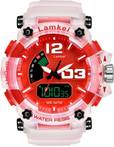 LAMKEI LK-18 Analog Digital Watch For Men - Premium Imported Casual Sporty Display Day and Date Function RED Dial TRANSPARENT Silicon Strap Analog-Digital Watch for men and boys Analog-Digital Watch  - For Men