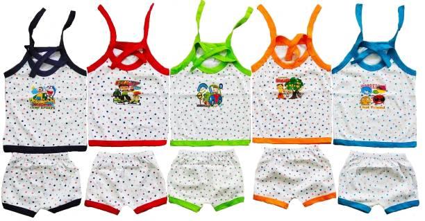 Sonpra NEW BORN BABY COTTON MULTICOLOR UPPER DORI JHABLAS SHORTS BABY COMBO SET (0 -3 MONTHS)