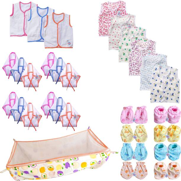 V.B.K New Born Baby Care Combo Of 30 Items, Zhabla, Nappy (Langot), Baby Cotton Jhula With Mosquito Net (Khoya), Mittens (Hand and Leg), 0-6 Months