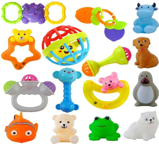 Learn With Fun Set of 15 Pcs with Various Exciting Toys for New Borns & Infants Rattle Bath Toy Bath Toy