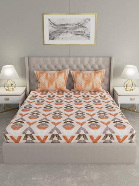 Raymond Home 144 TC Cotton Double Geometric Bedsheet