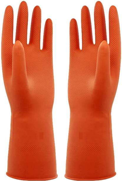 Frabble8 Multipurpose Waterproof Non-Slip Rubber Latex Reusable Gardening Dishwashing Scrubbing Cleaning Hand Gloves Free Size Large 9 Inches Wet and Dry Glove