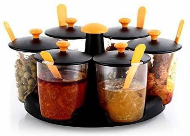 OLIX Pickle Jar, Masala Storage Container Lids and Tray Holder for Kitchen (Multicolour) - Set of 6 1 Piece Salt & Pepper Set