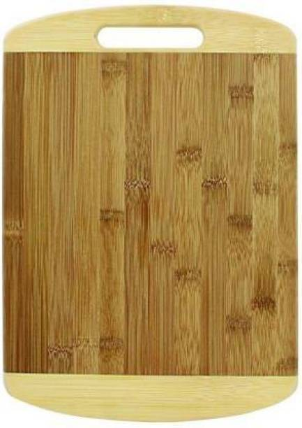 KITCHEN INDIA Premium Quality Size (24*34 cm) Natural Bamboo Chopping Board with Handle for Vegetables, Fruits, Meat Wooden Cutting Board