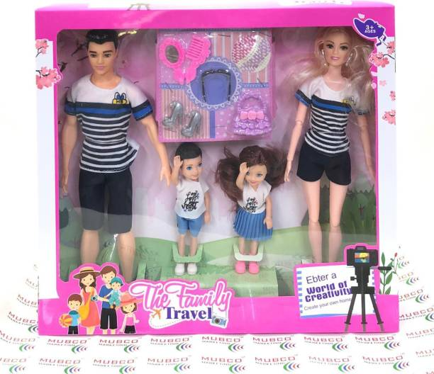 Mubco Barbee - Ken & Baby Dolls | Family Doll Set | Movable Body Parts & Accessories