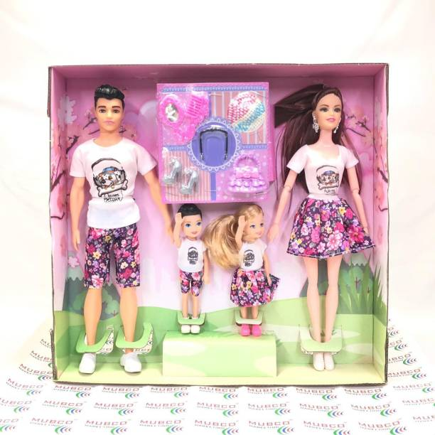 Mubco Barbee - Ken & Baby Dolls   Family Doll Set   Movable Body Parts & Accessories Multi