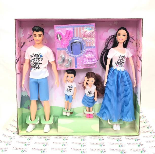 Mubco Barbeee - Ken & Baby Dolls | Movable Body Parts & Accessories Family Doll Set