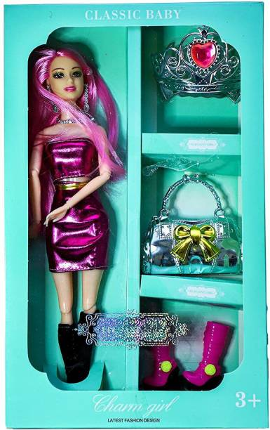 VISHAL_Co Fashion Doll with Beautiful Accessories and Doll Beauty Charm Handbag Shoes Clothes & Ornaments Premium Quality
