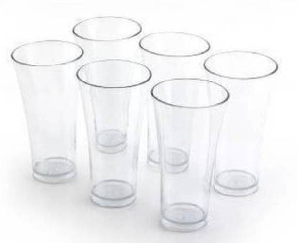 TAPASVI (Pack of 6) 6 Pcs. Unbreakable Transparent Water, Juice, Cold Drinks Glass Set 300 Ml High Grade Poly Carbonate Plastic Glasses Glass Set
