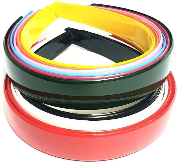 PANKSHRI ENTERPRISE Set Of 12 Plastic Hair Bands for Girls & women -multicolour Hair Band
