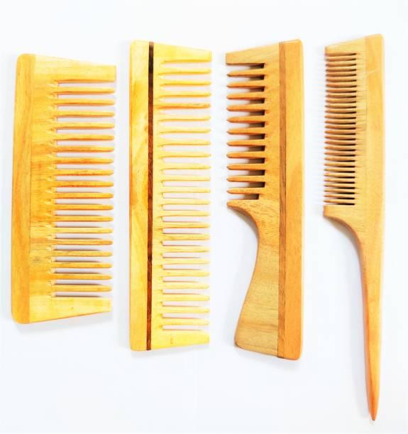 Prakrtik Detangling Combs with Tail Comb - Combo of 4