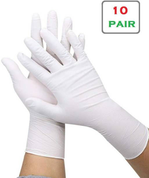 TOUCH SHOP Latex Gloves Hand Protection Rubber Examination Glove for Hospital, Clinic, Sanitary & Kitchen Medical Golves Latex Examination Gloves (pack of 10 pair) Latex, Nitrile Surgical Gloves