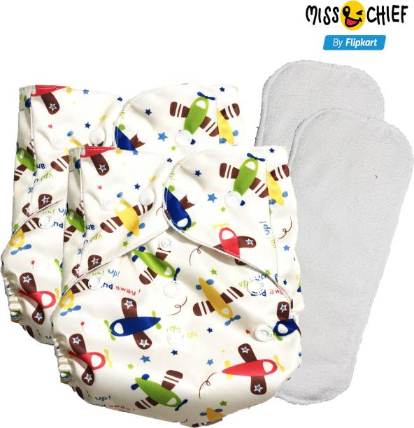 Miss & Chief Reusable Cloth Diaper with 1 Insert Aeroplane (pack of 2)