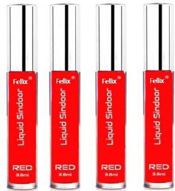 Fellix 100% Herbal Liquid Kumkum Sindoor Water Proof Sindoor (Red Pack of 4) Sindoor