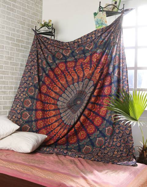 D K Lifestyles Bohemian Red Green Peacock Wing Self Design Tapestry
