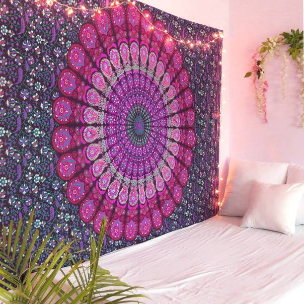 Sohibe Bohemian Hippie Mandala Lavender Peacock Wing Wall Hanging Bedsheet Bedcover Room Dorm Decoration (Size 84 x 54 inches) Tapestry