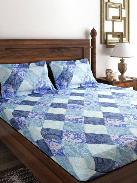 SWAYAM 160 TC Cotton Single Checkered Bedsheet