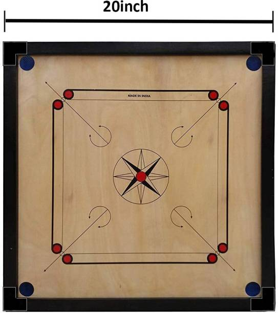 Aakar Sports Matte Finish Carrom Board 20 Inch, Ply with Coins,Striker and Powder only for kids 50.8 cm Carrom Board