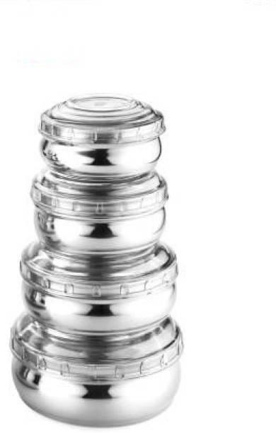 Classic Essentials Stainless Steel 4Pcs Belly Shape Storage Set With Orange Break  - 700 ml, 450 ml, 300 ml, 200 ml Steel Fridge Container
