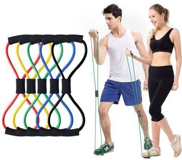 Fixfeels 8 Word Yoga Fitness Muscle Workout Exercise Yoga band (Pack of 2) Resistance Band