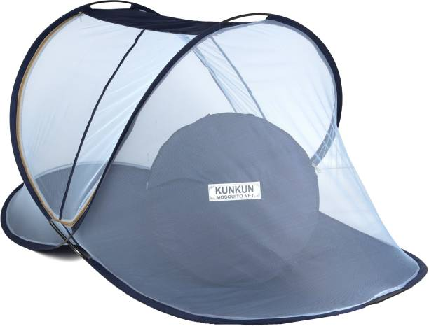 KUNKUN Polyester Adults Foldable 215×102×90 Single Bed ( Blue ) Mosquito Net