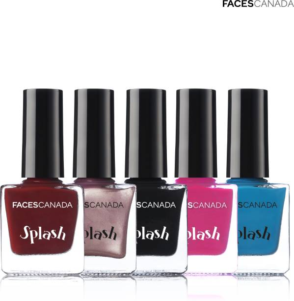 FACES CANADA Splash Nail Enamel (Pack of 5) Marooned, Need Sunglasses, Black Beauty, Pink Flemenco, Nautical Girl