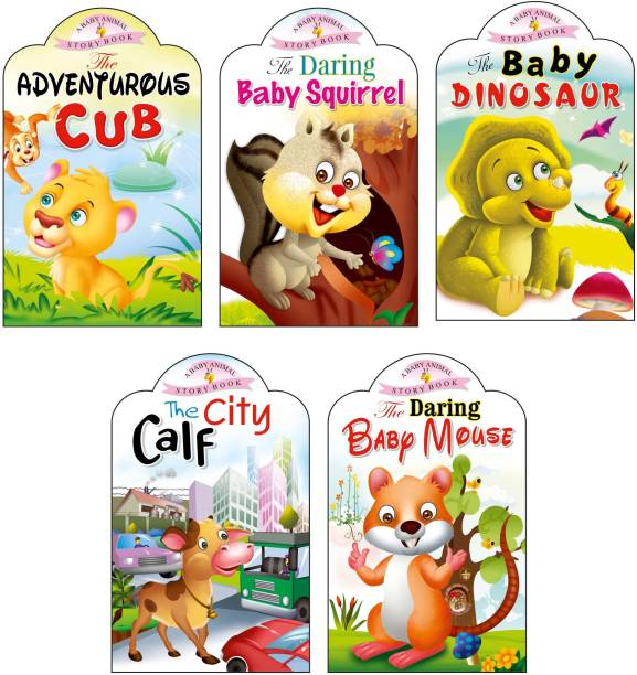 Sawan Present Set Of 5 Story Books | Baby Animals Series | Adventurous Cub, Baby Squirrel, Baby Dinosaur, City Calf & Baby Mouse