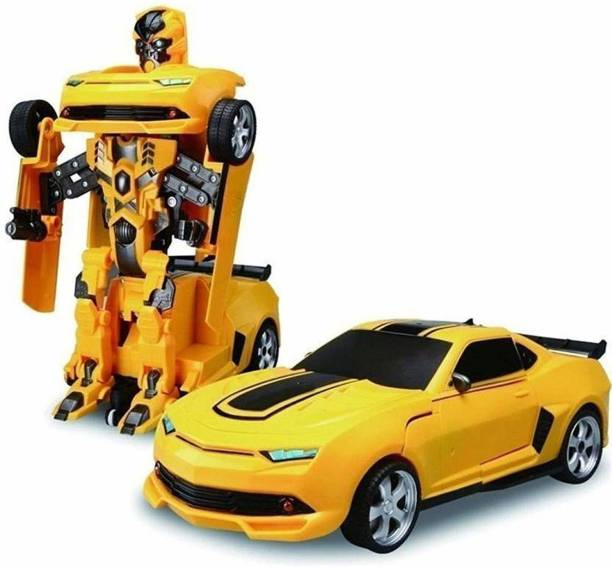 R K GIFT GALLERY Transform Robot Races Car 2 in 1 Bright Lights and Music Battery Operated Toy