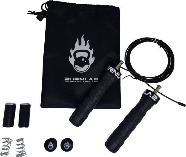 Burnlab Anti slip Adjustable Skipping Rope Pro (Power (Black) Weighted Skipping Rope