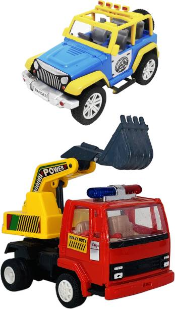 Giftary Set Of 2 Small Size Made Of Plastic Indian Replica Mini Adventure Jeep Toy + Excavator Truck Toy For Children|Kids Playing Toys|Very Small Size|(2 Combo Offer)
