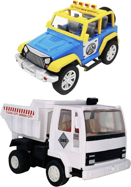 Giftary Pack Of 2 Small Size Made From Plastic Indian Automobile Ranger Jeep Toy + Dumper Truck Toy For Children|Playing Toys For Babies Kids|Very Small Size|(2 Combo )