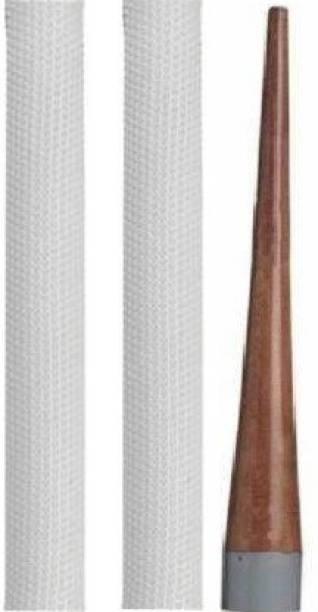 Kiraro Combo Of 1Cricket Bat Handle Gripper With 2Bat Handle Grip(White) Mesh Grip