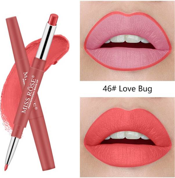 MISS ROSE Long-Lasting Lip Liner 2 In 1 Matte Lip Pencil Waterproof (46) - Pack of 1