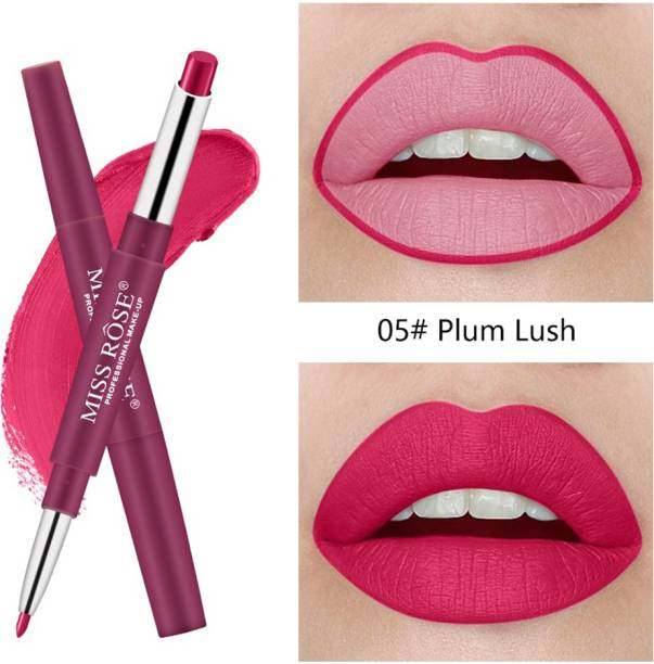 MISS ROSE 2 In 1 Matte Lip Stick And Lip Liner Pen Waterproof Lasting Nude Smooth Lipstick Pencil (5) - Pack of 1