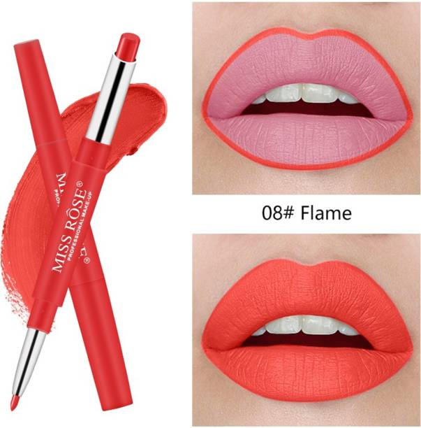 MISS ROSE Professional 2 In 1 Lip Liner And Lipstic For Girls By (8) - Pack of 1