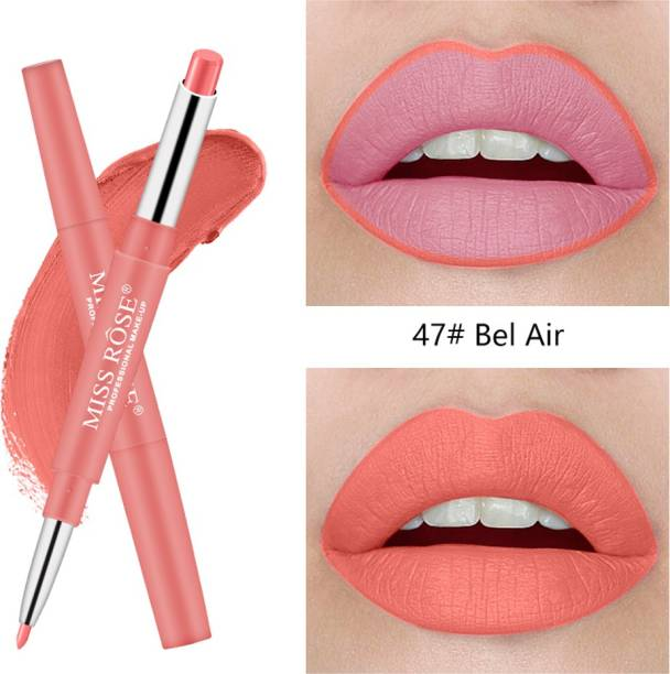 MISS ROSE 2 In 1 Matte Lipstick & Liner Pencils For Gorgeous Girls And Women'S (47) - Pack of 1