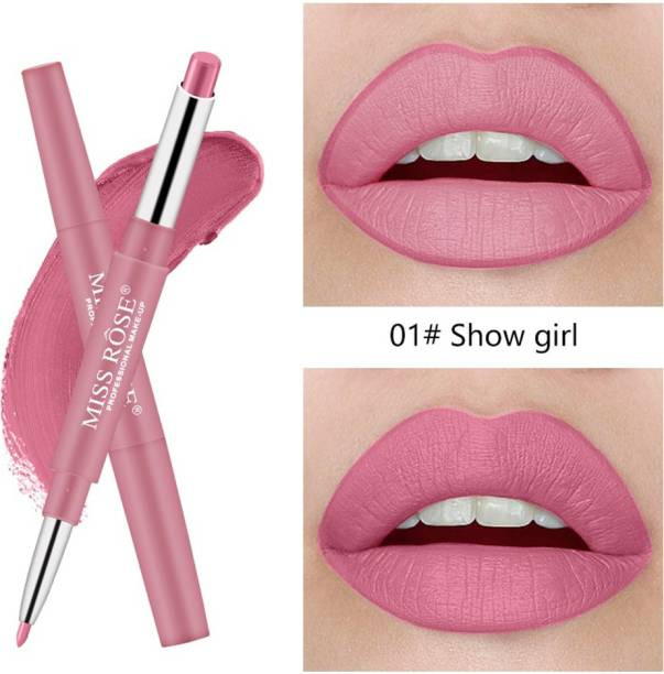 MISS ROSE 2 In 1 Double Ends Lip Liner Pencil Waterproof Matte Lipstick By (1) - Pack of 1
