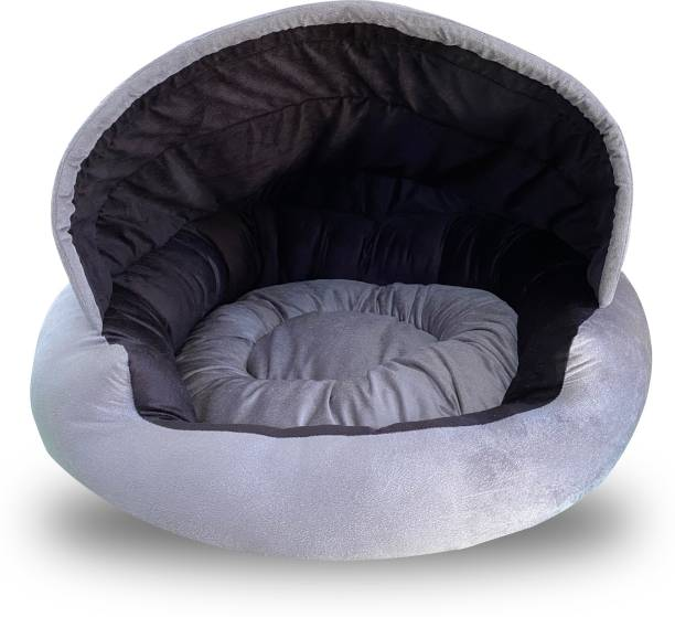 Dogerman Velvet Fabric Dual Color Cave Shape Bed For Small Dogs & Cats M Pet Bed