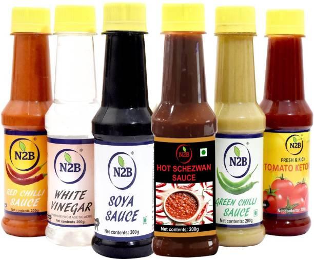 N2B Combo of 6 (Schezwan Sauce + Red Chilli Sauce + White Vinegar + Soya Sauce + Green Chilli Sauce + Tomato Ketchup) 200g each Sauce