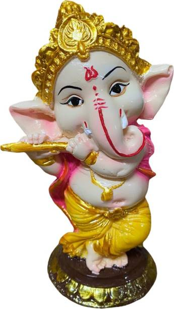 Kitchen Hub MADE IN INDIA High Quality Finishing Dancing Bansuri(Flute) Ganesha (Home Temple Use, Decorative Use, Office, gifted use Item statue Decorative Showpiece - 15 cm Decorative Showpiece  -  15 cm