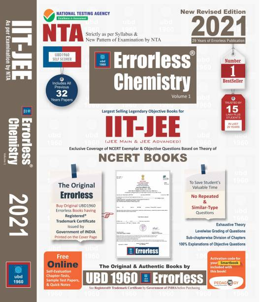 UBD1960 Errorless Chemistry for IIT-JEE (MAIN & ADVANCED) as per New Pattern by NTA New Revised 2021 Edition (Set of 2 volumes) by Universal Book Depot 1960