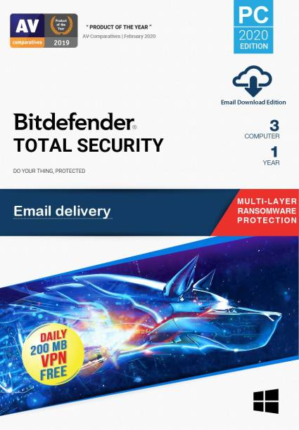 bitdefender 3 PC 1 Year Total Security (Email Delivery - No CD)
